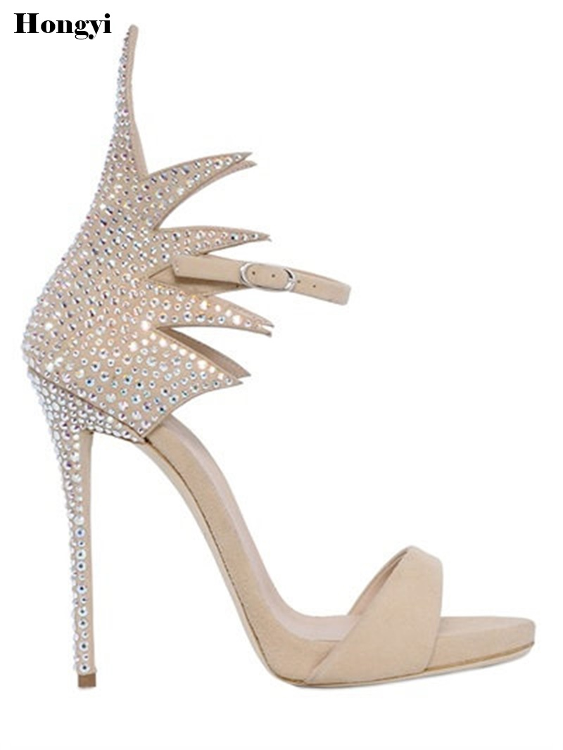 Women Heeled Sandals Bandage Rhinestone Ankle Strap Pumps Super High Heels 12CM Thin Heels Lady Shoes 15cm fashion show thin high heels super high heels of the lacquer that bake the bride shoes sandals girl with high performance