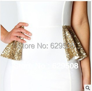 Top quality!! 2014 new arrival Sexy Drape Front Sequin Mini Dress white  sexy Deep U Dress career woman popular in european-in Dresses from Women s  Clothing ... 04c76fd52e77