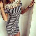2015 Women Striped Lace Bandage Sexy Slash Neckline Summer Dress Stretch Slim Bodycon Short Mini  Dress