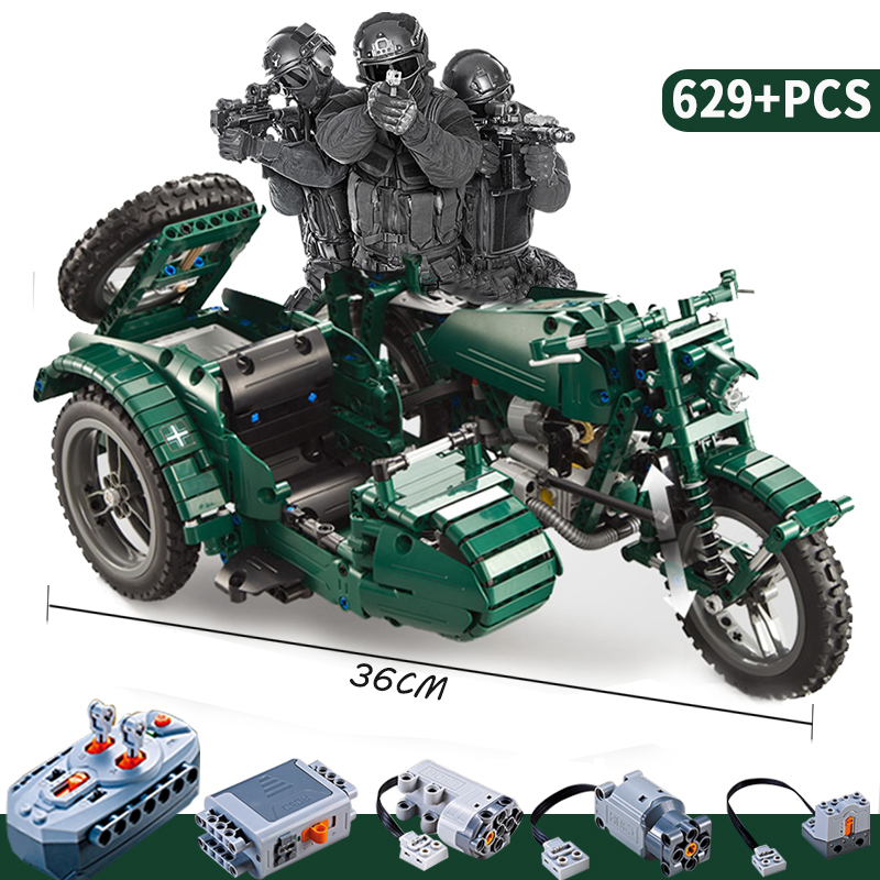 World War II Motorcycle Technic Military Remote Control RC Legoings Building Block Technic Series For Kids Gift 1572pcs moc technic the remote control rc tank military war assembly building block brick toy for boys christmas gift 20070
