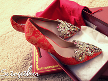 Rhinestone Red Bottom High Heel Plus Size 40-43 Wedding Shoes Married Female Pointed Toe Bridal Shoes Cheongsam Pumps Women