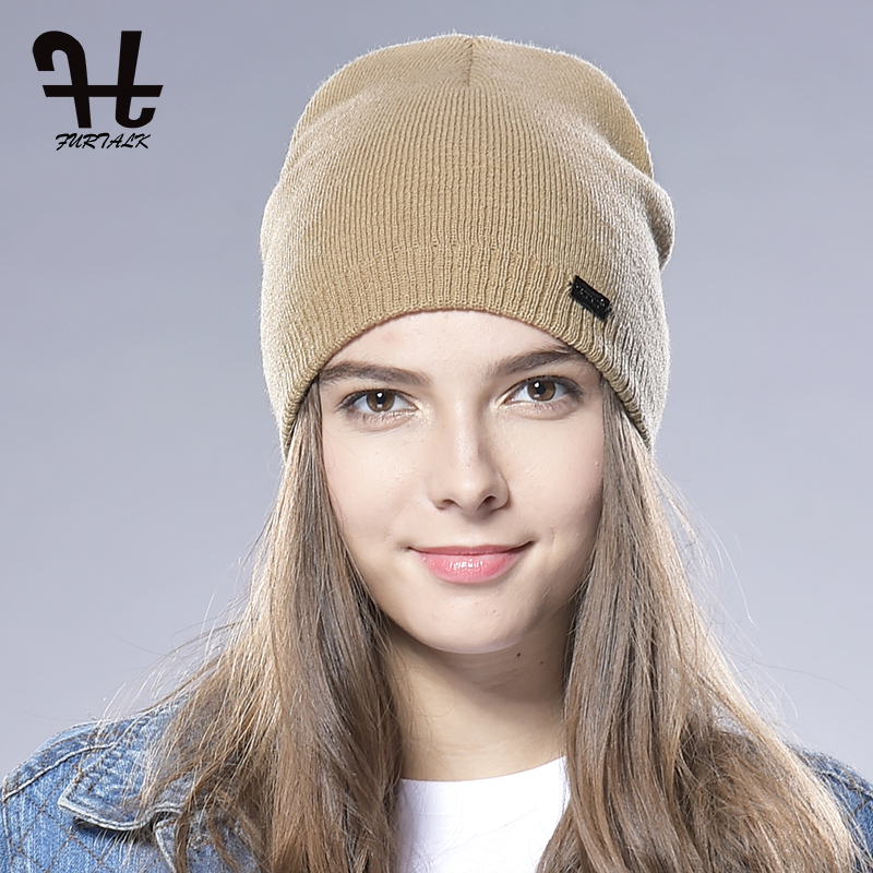 FURTALK Unisex Spring Autumn Watch Cap Woman Wool Knit Beanie Cap Braided Hat skull winter hats for women