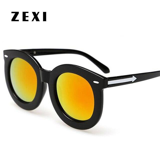 e3605526aedd75 ZEXI Unisex Gepolariseerde Zonnebril Retro Pijl Ronde zonnebril Geel Merk  Designer Bril Goedkope Mannen Polarisatie 8079