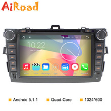 Pure Android 5.1.1 Radio for Toyota Corolla 2007 2008 2009 2010 2011 with 1024*600 Capacitive Touch Screen Auto DVD GPS
