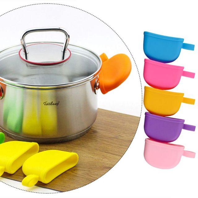 Accesorios de cocina de silicona resistente al calor cubierta Anti-skid tapa sosteniendo mando olla manejar