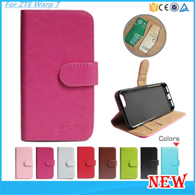 PU Leather Flip Wallet Stand Mobile Phone Case For ZTE Warp 7 N9519 Cover Free DHL Shipping