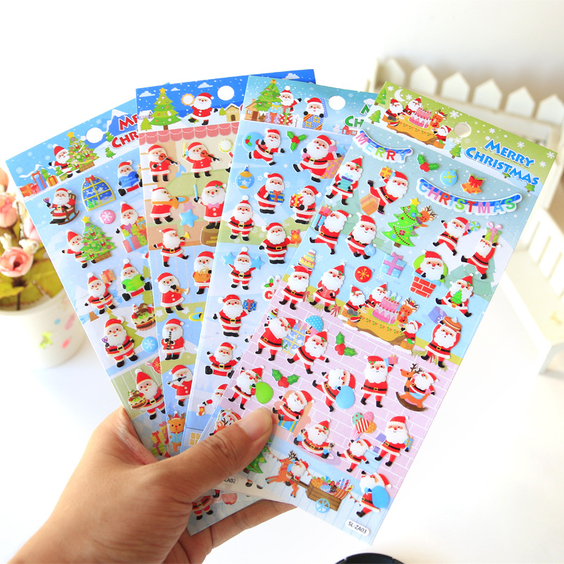 Merry Christmas 3D Crystal Decorative Stickers Adhesive Stickers DIY Decoration Diary Stationery Stickers Children Gift