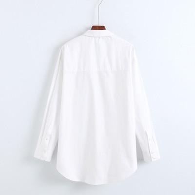Oyk8286 Causal Blusa Mujeres Popelina Oficina Señora Za Suelta Algodón Primavera Feminina Blusas Camisa Blanco Costilla nqqrI4