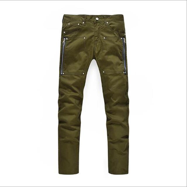 Slim calça casual calças moda masculina calças tipo reto estilo locomotiva roupas verdes dos homens calças dos homens