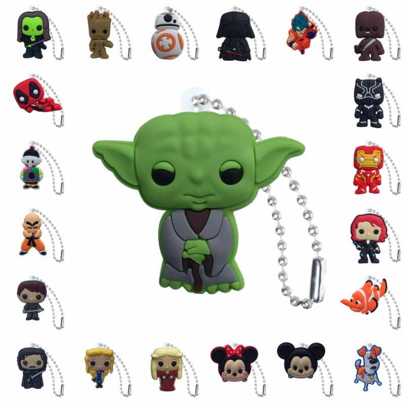 1 stücke PVC Keychain Cartoon Figur Star Wars Game of Thrones Marvel Avenger Metall Ball Kette Schlüssel Kette Ball kette