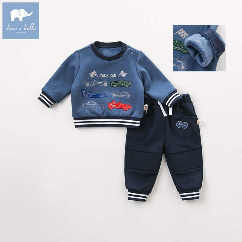 DBJ8581 dave bella autumn baby boys long sleeve clothing sets infant toddler top+pants 2 pcs outfits children high quality suits