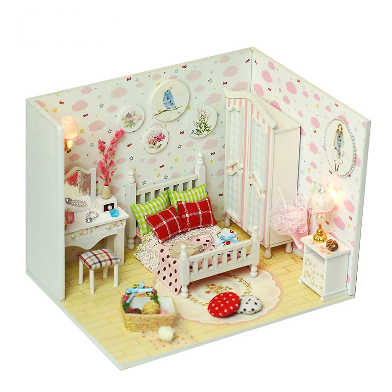 DIY Handmade Dollhouse Miniature With Furnitures LED Creative Doll House Wooden Model Gift Toys Sweet And Beauty Dream Q007 #E