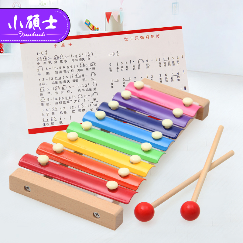 Wooden Music Instrument Montessori Children 'S Educational Early Wooden Xylophone Toys Hand Knocking Piano Gift for child цена