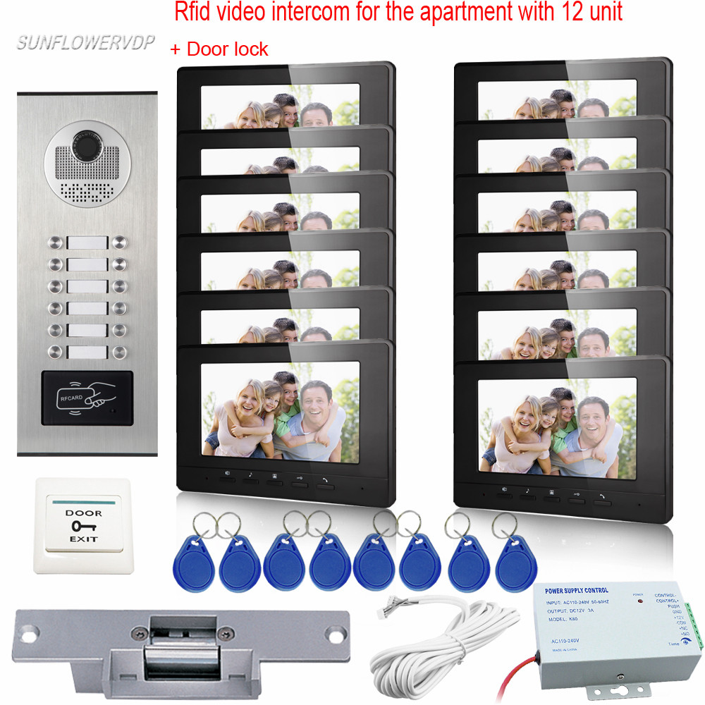 Home Video Door Phone Rfid Cards 12 Buttons Video Intercom 7