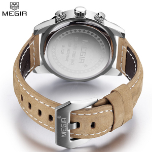 Image 5 - Top Brand Megir Luxury Leather Strap Sports Running Men Watches Casual Aramy Military Chronograp Quartz WrsitWatch Male Clock