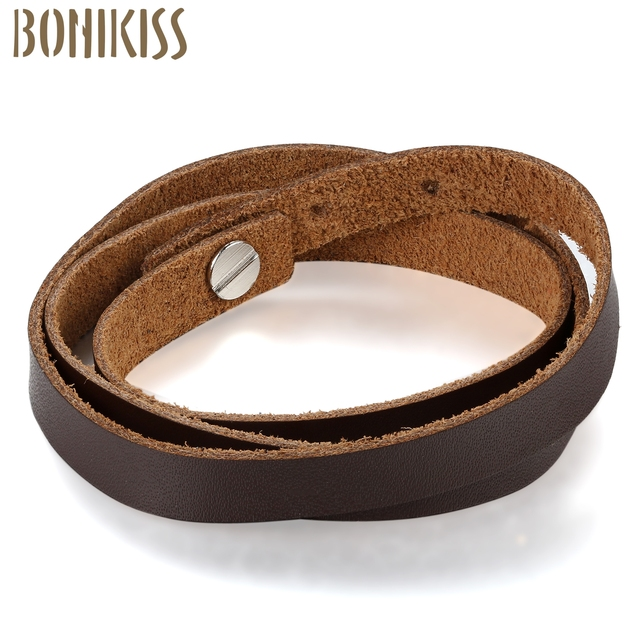 Fashion 4 Color Leather Strap Bracelet Multi Layer Easy Snap On Adjule Coffee Red White Black