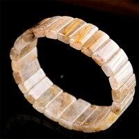Из натуральной Золотая игла кристалл кварца Браслеты для Для женщин прямоугольник Бусины стрейч Для мужчин браслет