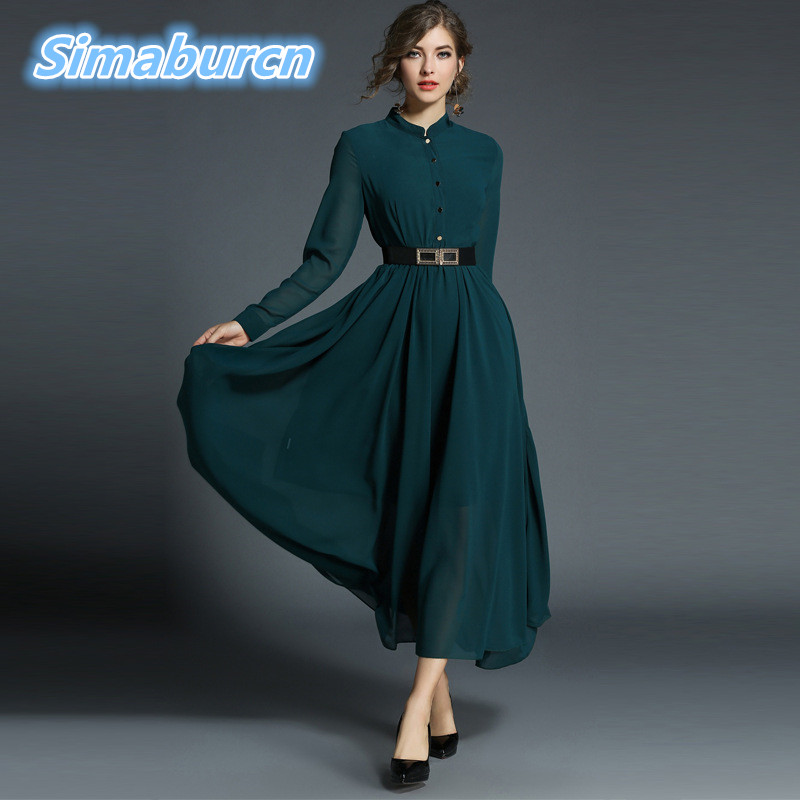 Women Long Sleeve Dress Autumn 2018 New Fashion Stand Buttons Chiffon Long Dresses Woman Vintage Sexy Temperament Dress