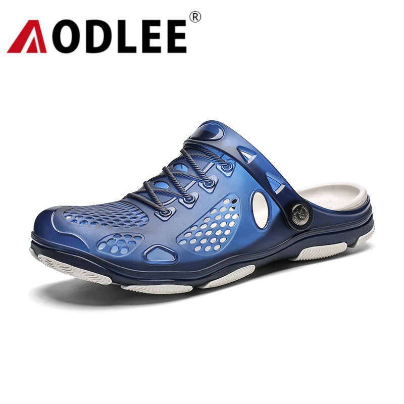 AODLEE Jelly Shoes Slip-on Sandals Men Shoes Mens Sandals Summer Outdoor Beach Sandals Casual Slippers Croks Sandalia Hombre