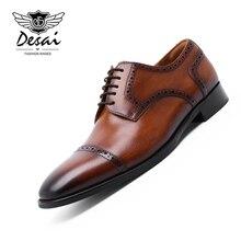 DESAI Mens Formal Shoes Genuine Leather Oxford for Men Italian 2019 Dress Handmade Wedding Elegant Brogues