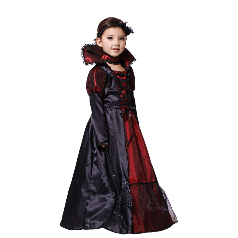 2018 Black Gothic Anime Halloween Vampire Cosplay Dress Costume For kids Costumes Carnival Costumes for Children Party