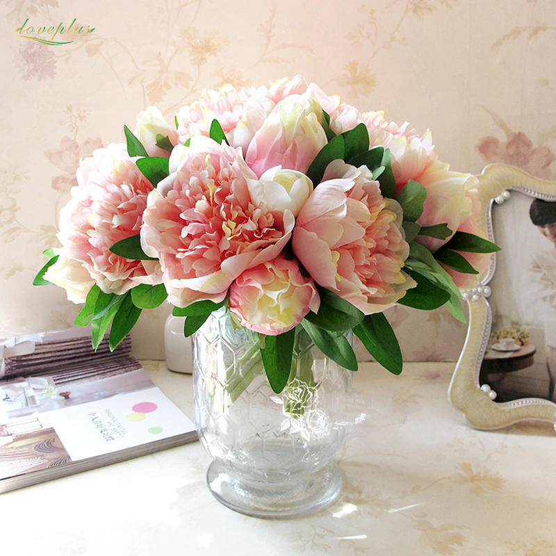 Zinmol 4 Colors 1Bunch Artificial Flowers Fake Peony Bridal Bouquet  Christmas Wedding Party Home Decorative Flower Table Decor