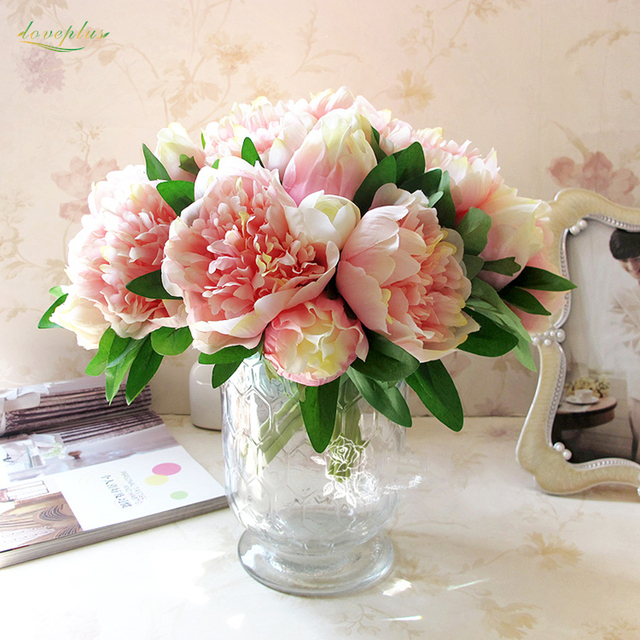 Zinmol 4 Couleurs 1 Bouquet Fleurs Artificielles Faux Pivoine