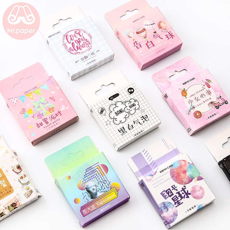 Купить с кэшбэком Mr.paper 45pcs/box 24 Designs Colorful Ins Style Scrapbooking Bullet Journal Stickers Kawaii Girlish Deco Stickers Child Gifts