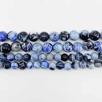 1 strand/lot 6 8 10 mm Natural Stone Blue Flame Agates Bead Round Loose Spacer Beads For Jewelry Making Findings DIY Bracelet