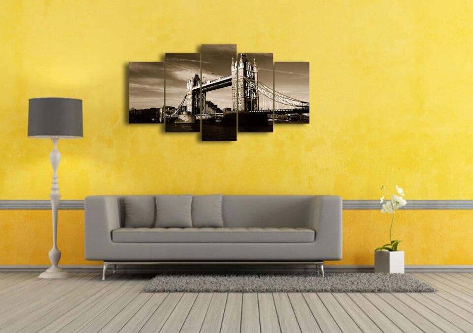5 Pcs/Set Framed HD Printed London Tower Bridge Wall Art Picture ...