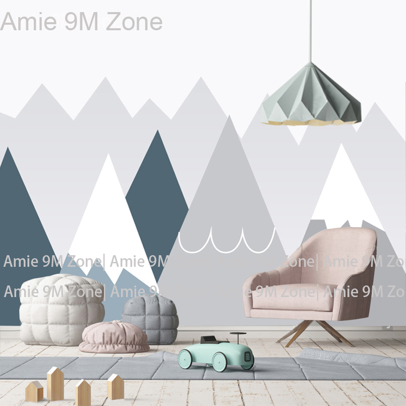 Amie 9M Zone Pale Blue And Grey Cartoon Moutain For Kid's Room Wallpapers Drawing  Art For Children's Wall Decor