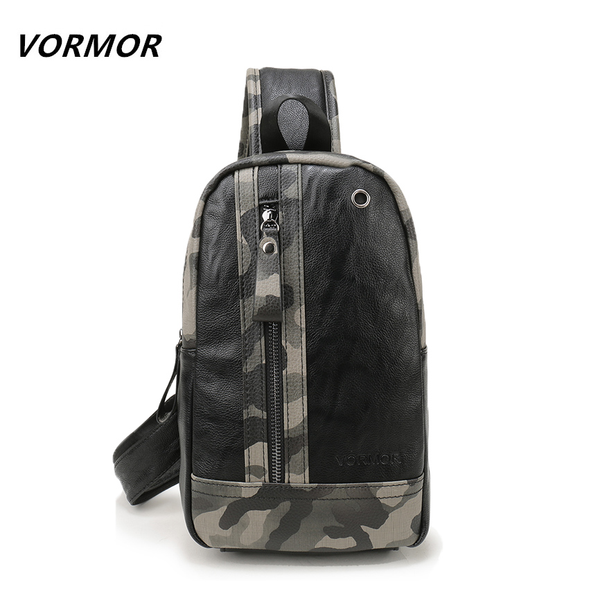 VORMOR 2017 Famous Brand New Men's Chest Bag PU leather Men Crossbody Bag Army Style Sling Shoulder Bags For Man vicuna polo promotion famous brand handbag high quality pu leather men tote bag borse classic sewing thread design men sling bag