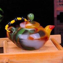 Xinjiang Gobi Jade Bunte Achat Hand Geschnitzte Spielen Sache Magie Topf Sammlung Ornament Geschenk Dropship
