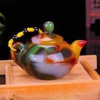 Xinjiang Gobi Jade Colorful Agate Hand Carved Playing Thing Magic Pot Collection Ornament Gift Dropship