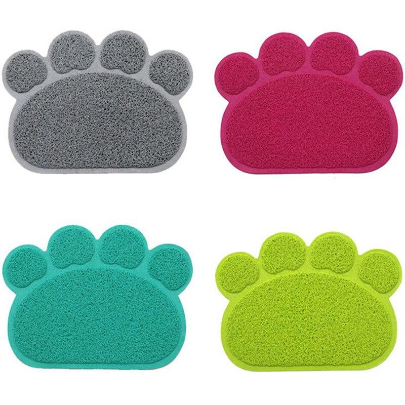 Impresión de la pata del gato del perro camada cachorro gatito plato de alimentación Placemat bandeja fácil limpieza colchoneta gato perro accesorios