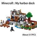 Nueva lepin 18013 517 unids mi mundo minecraft mi muelle puerto ensamblar ladrillos de construcción, bloques de figuras de anime juguetes para los niños