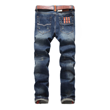 2018 Newly Fashion Men Jeans Vintage Design Straight Fit 100% Cotton Denim Ripped Jeans For Men Classical Buttons Jeans homme