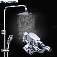 BOCHSBC Brass Chromed Shower Set with Slide Bar Square Shower Head Wall Mounted Bathroom Shower Mixer for Hotels