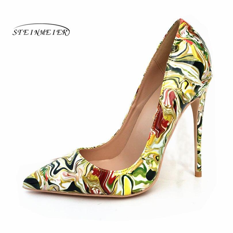 Steinmeier Sexy high heels 2019 New arrival Red Graffiti Colorful Stiletto Women Pumps 12cm 10cm 8cm