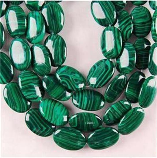 Új (Min rendelés1) 13X18MM zöld malachit ékszerek ovális, laza - Divatékszer