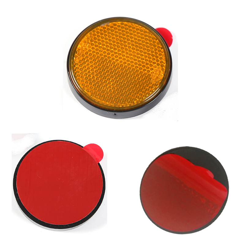 Image 3 - trailer truck lorry car accessories  2 pcs amber round  reflector strip for bus RV caravan camp bike towing camp  self adhesive-in Reflective Strips from Automobiles & Motorcycles