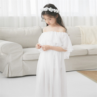 Little girls dresses off shoulder lace white dress girl beach gauze dress summer clothes dress for girls 10 to 12 years