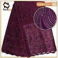 Trustwin le Nouveau modèle de coton africain tissu une tranche grand lourd dentelle suisse voile dentelle pour robe de partie de mode de CL10136pi8