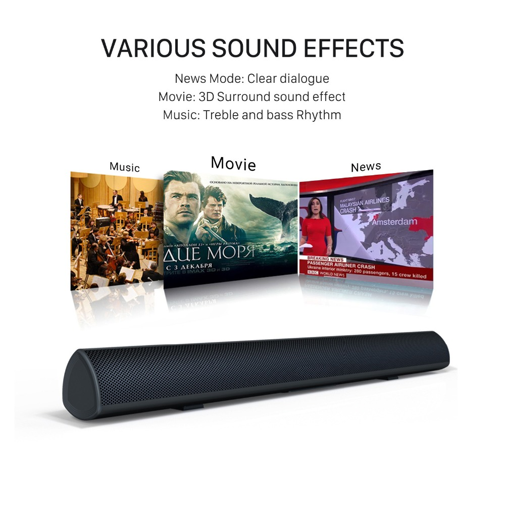 80W TV SoundBar Bluetooth Speaker Home Theater System 3D Surround >80 dB Sound Bar Subwoofer Audio Remote Control Wall Mountable