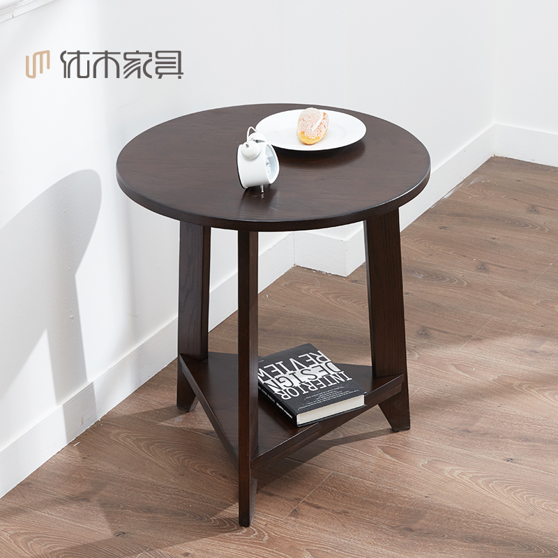 Round Coffee Table Oak: Pure Red Oak Wood Round Coffee Table A Few Side Small