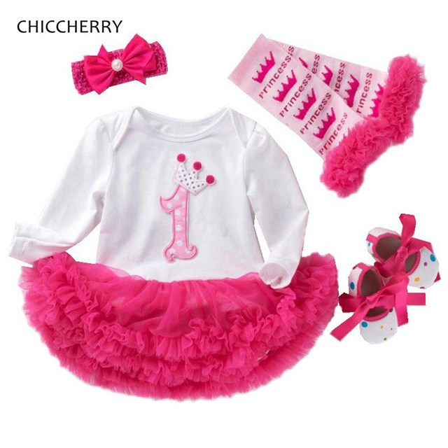 be74d4694c931 US $16.5 10% OFF|2 & 1 Year Girl Baby Birthday Dress Lace Petti Romper  Dress Headband Leg Warmers Shoes Toddler Birthday Outfits Infant  Clothing-in ...