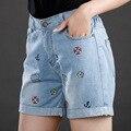 jeans women Light blue Large size denim shorts summer new fat MM elastic waist denim shorts XL 5XL