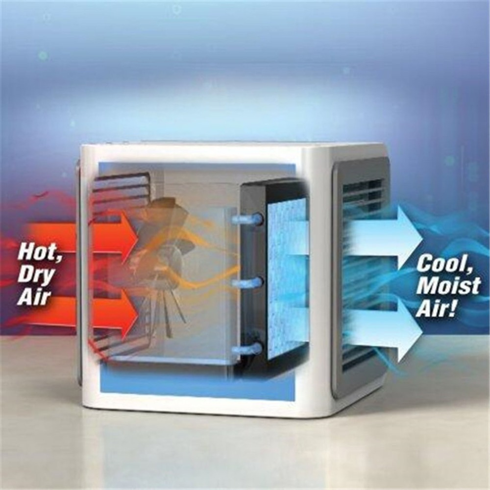 Portable Mini Air Conditioner Multifunction Cooling Fan with 7 Colors LED Lights Air Humidifier Purifier for Home Office
