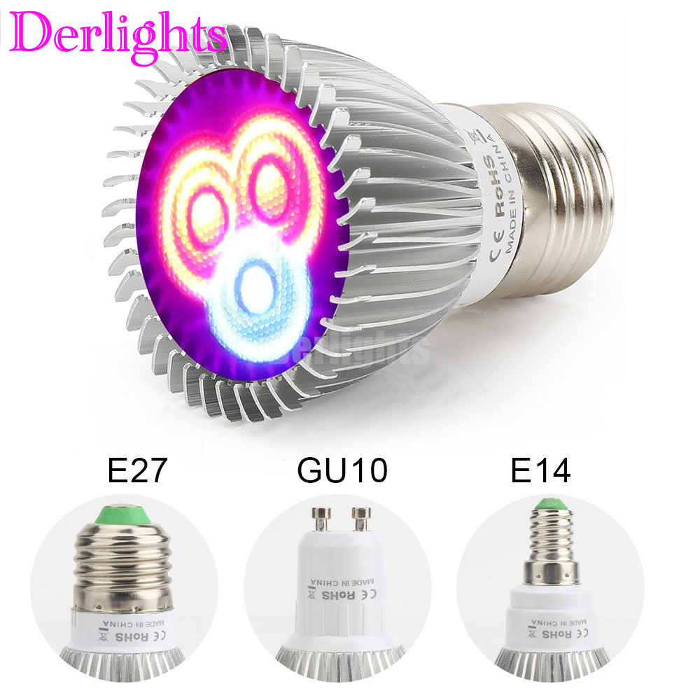 4pcs/Lot 6W LED Grow Light E27/E14/GU10 AC85-265V For Plants Flower Seeds Vegetable Indoor Greenhouse Hydroponics Growing Lamp