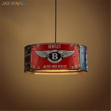 Vintage Loft Retro License Plate LED Pendant Lights Iron Lamp Dining Room Bedroom Restaurant Bar Decor Industrial